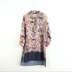 Zara Basic Satin Boho Paisley Oversized Midi Dress